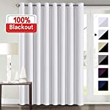 100% Blackout Curtains for Living Room Extra Wide Blackout Curtains for Patio Doors Double Layer Lined Drapes for Double Window Thermal Insulated Curtains/Draperis - White, 100