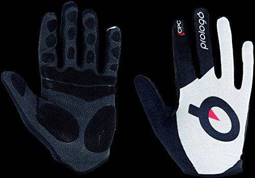 Prologo Langfingerhandschuhe Piquet, L Untergrund, es Logo Handschuhe, weiß Schwarz, L