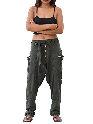 Waist Elastic Pocket Two (Thaluta Harem Pants Women Cotton Drop Crotch with 2 Pockets Elastic Waist 4-12 US Grey (Grey))