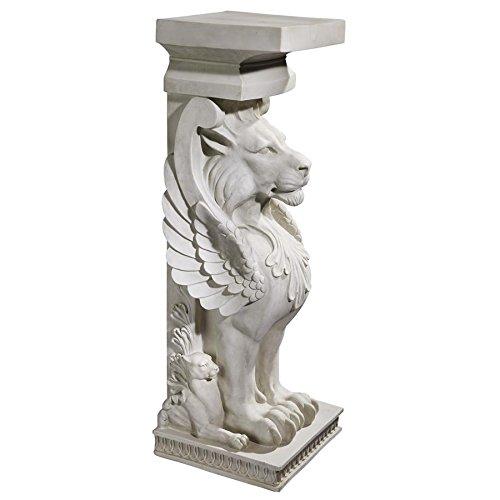 Design Toscano Trapezophoron Winged Lion Pedestal Column Plant Stand, 31 Inch, Polyresin, Antique Stone