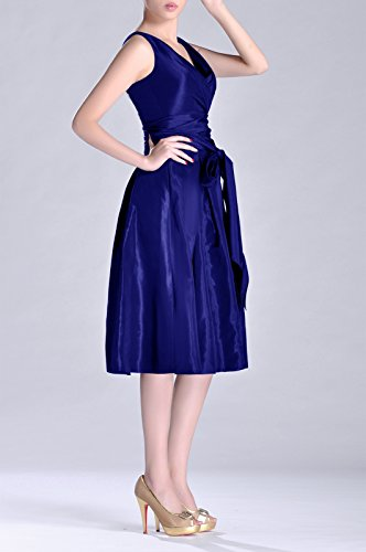 Formal Dress Modest V Length neck bridesmaids Bridesmaid Königsblau Pleated line Tea A Taffeta qfUwB1q