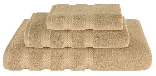 (American Soft Linen Premium, Luxury Hotel & Spa Quality, Kitchen & Bathroom Turkish Towel Set, Cotton for Maximum Softness & Absorbency, (3-Piece Towel Set - Sand Taupe))