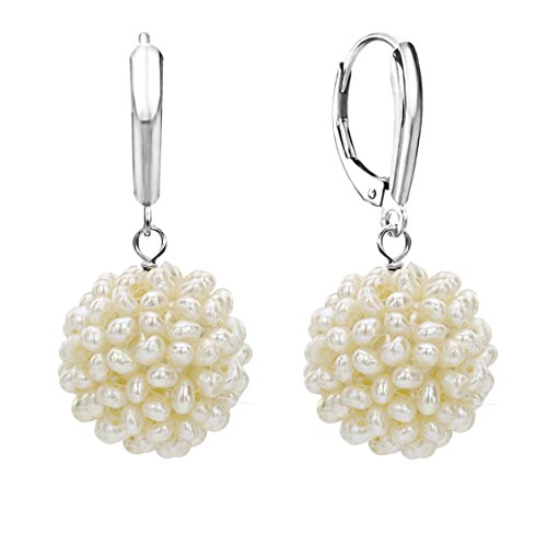 White Freshwater Cultured Cluster Pearl Earrings 14K Gold Leverback Jewelry for Women