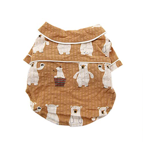 Dog Shirts,Cute Pattern Print,Two-Legged Casual Breathable Pet Clothes Tops Comfy Dog Tshirt (L, Brown) -