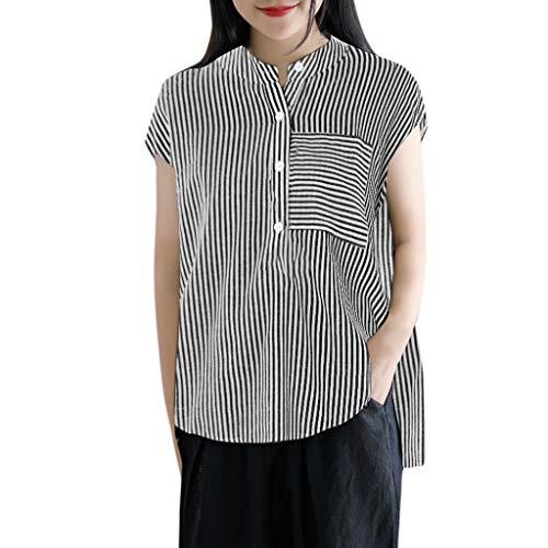 (Kawaiine Women Plus Size Casual Stripe Print Tank Shirt Button Pocket Sleeveless Tops Black)