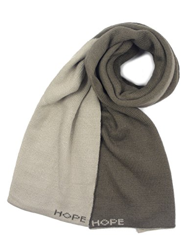 Reversible Cashmere Knit Scarf (Dahlia Acrylic Long Scarf - Reversible Dual Color - Tan/Khaki)