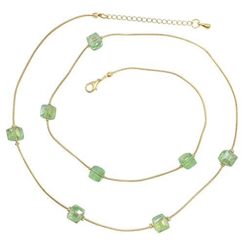 Glass Beveled Cubes on Gold Tone Snake Chain Boutique Style Necklace & Earrings Set (Light Green)