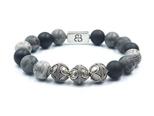Onyx, Jasper, and Labradorite Bracelet, Matte Black Onyx, Grey Jasper, and Matte Labradorite Bracelet, Men's Silver ()