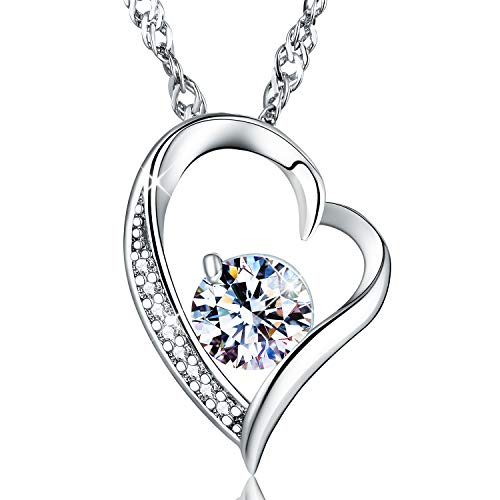 MadeOne ✦Gifts for Mother's Day✦ Hypoallergenic 18K White Gold Plating Excellent Cut Cubic Zirconia CZ Stone Forever Heart Pendant Necklace for Women with Box Packing -