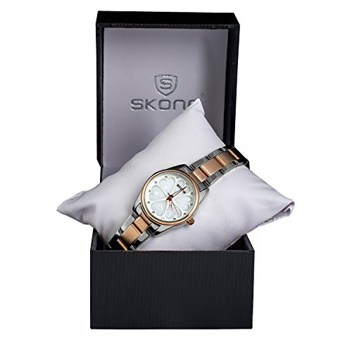 Women Wrist Watch, SKONE Ladies Waterproof Watch, Hearts Dial Stainless Steel Analog Watch, Rose Gold, Silver