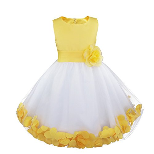 iiniim Girls Petals Tulle Princess Wedding Pageant Party Flower Girl Dress Yellow Petals 2 -