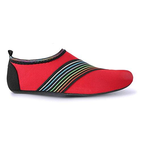 JOINFREE Damen Herren Kid Sommer Wasser Schuhe Barfuß Schuh Quick Dry Aqua Socken Yoga Abschrägung Rot