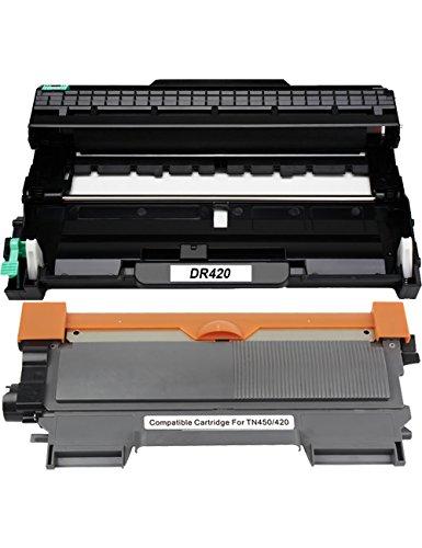 Compatible Replacement Drum - WonderTec Compatible Toner Cartridges & Drum DR420 Replacement for Brother TN450 TN420 for HL-2280DW HL-2270DW HL-2240 MFC-7240 MFC-7860DW MFC-7460DN DCP-7065DN HL-2240D Printer(1 Toner, 1 Drum)