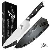 Zelite Infinity Chef Knife 8 Inch - Alpha-Royal German Series - German High Carbon Stainless Steel - Pakkawood Handle, Leather Sheath