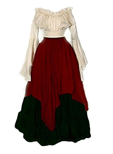 [M2MO Womens Renaissance Costumes Vintage Plus Size Masquerade Medieval Dress Red US 2XL] (Plus Size Renaissance Costumes)
