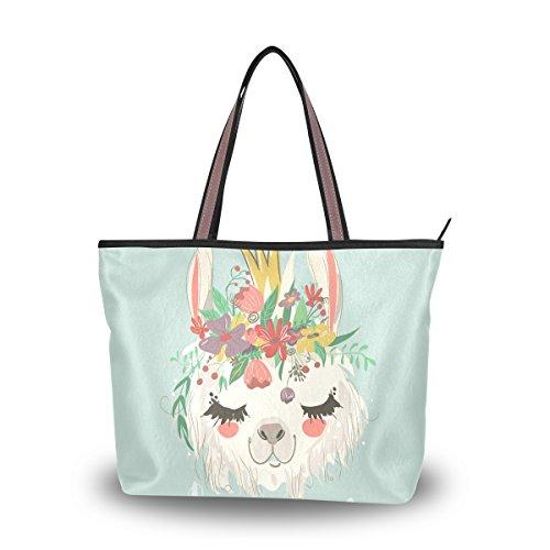 Shoulder Bag Cute Llama Flower Printing Handbag Totes Purses for Women