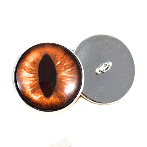 - 16mm Amber Cat Sew On Glass Eyes Buttons with Loop for Crocheted Doll Stuffed Animal Soft Sculptures or Jewelry Making Crafts - Set of 2