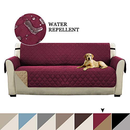 Turquoize Reversible Sofa Cover Couch Covers for 3 Cushion Couch, Quilted Quick Drape Sofa Cover Furniture Protector Water Resistant Sofa Slipcovers Perfect for Dogs Pets Kids (Sofa, Burgundy/Tan)