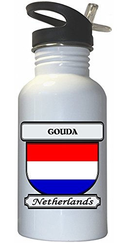 Gouda, Netherlands/Holland City White Stainless Steel Water Bottle Straw Top