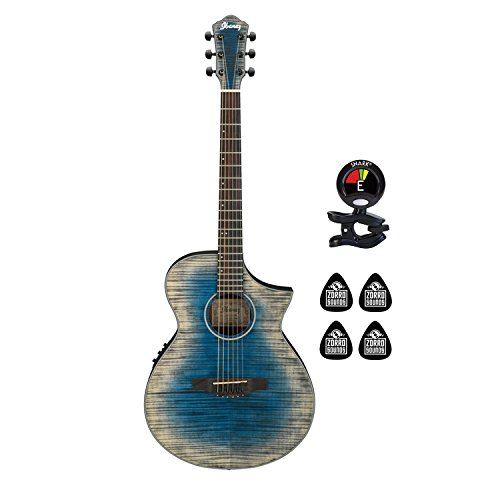 Ibanez AEWC32FM-BLG 6 Strings Acoustic Electric Guitar with Flame Maple Top, Fishman Electronics and Preamp w/Onboard tuner Guitar Package with Clip on Guitar Tuner and 4 Zorro Sounds Guitar Picks