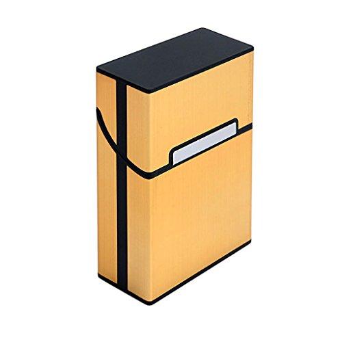 BCHZ Metal Cigarette Box Aluminum Holder Pocket Tobacco Cigar Storage Case Black (Gold) (Gold Metal Cigarette Case)