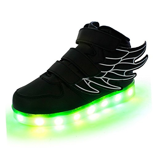 Pilusooou Cool and Popular SLEVEL LED Light Up Shoes USB Flashing Sneakers for Kids Boys Girls Black25/7.5 M US Toddler