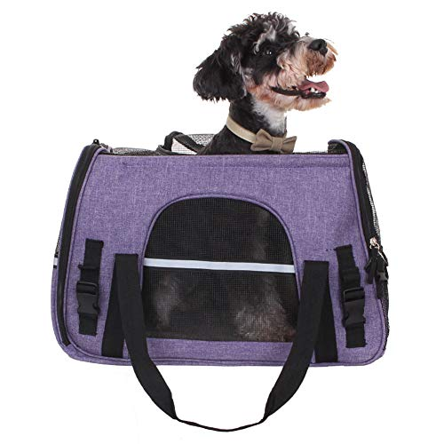 Ganhong Pet Carrier Airline Approved Pet Dog Cat Carrier Soft-Sided Pet Travel Bag for Small and Medium Dogs (Purple)