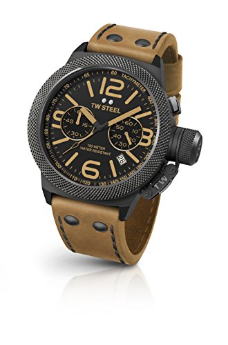 TW Steel Men's 'Canteen' Quartz Stainless Steel and Leather Dress Watch, Color:Brown (Model: CS44)