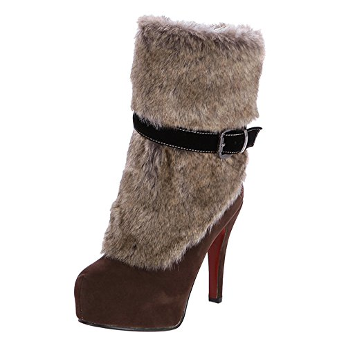 KemeKiss Boots Women Zipper Fashion Party Brown qqHPBF
