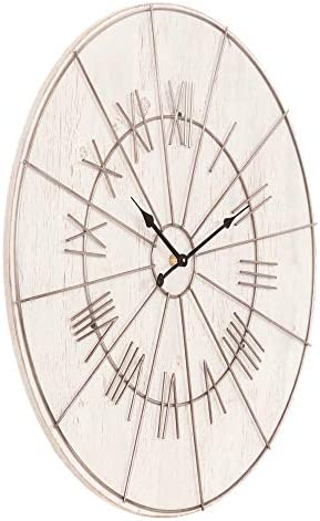 Patton Wall Decor 20 Inch Whitewash Wood and Metal Roman Numeral Wall Clock