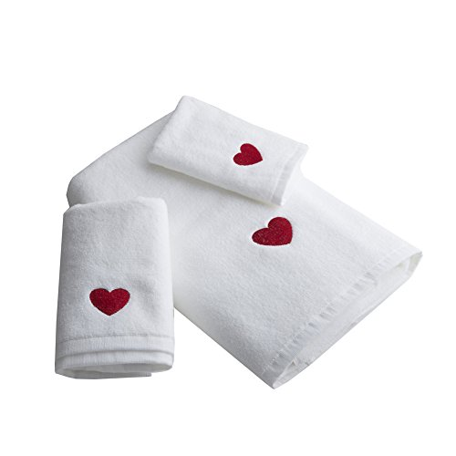 - Cozzy 3-piece Towel Set for Bathroom 100% Cotton Terrycloth with Red Heart Embroidered 1 Washcloth 1 Hand Towel 1 Bath Towel White