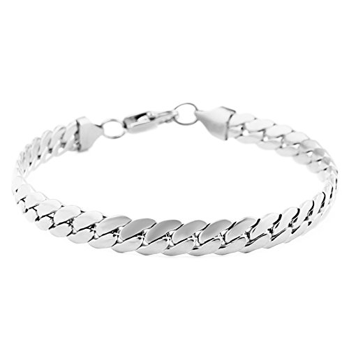 HZMAN Classic Mens Bracelet 316L Stainless Steel Cuban Curb Chain Silver Gold Black 3 Color, 8mm Length 8.5 Inches (Silver)