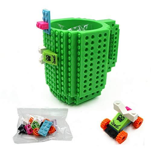 Build-On Brick Mug DIY Lego Coffee Cup Novelty Creative Mug, Green Deal (Large Image)