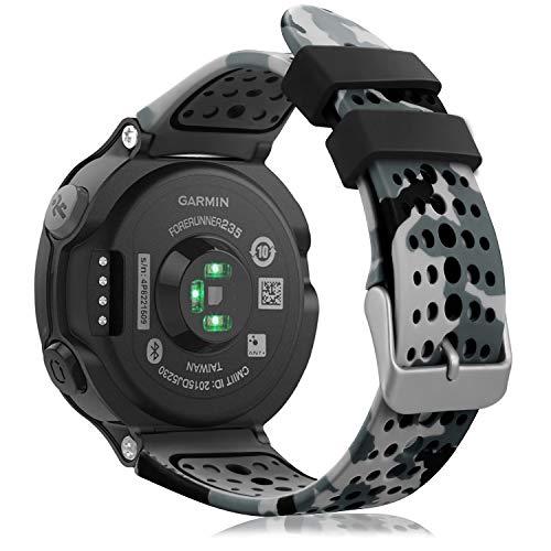Fintie Band for Garmin Forerunner 235 Watch, Soft Silicone Replacement Watch Bands for Garmin Forerunner 235/220/230/620/630/735XT, Camo Gray