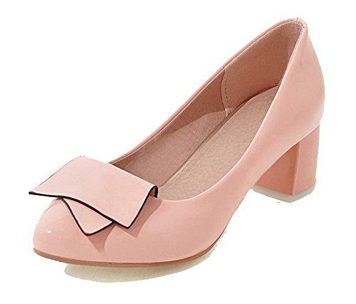AllhqFashion Damen Rund Zehe Mittler Absatz Blend-Materialien Rein Ziehen  auf Pumps Schuhe Pink