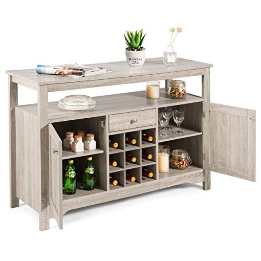 Farmhouse Buffet Sideboards Giantex Buffet Server Sideboard, Console Table, Wood Dining Table, Cupboard Table with 2 Cabinets, 1 Drawer and 9 Wine… farmhouse buffet sideboards