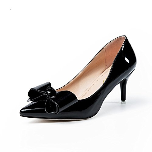 VIVIOO Tacón Alto Zapatos De Tacón Alto De Las Mujeres Modelo Básico BombasZapatos De Boda De Punta Estrecha Zapatos De Color Rosa Zapatos DeFiestaHechos A Mano Black