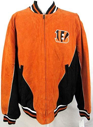 G-III Sports Mens Cincinnati Bengals Logo Full Zip Suede/Soft Leather Jacket, Size Large