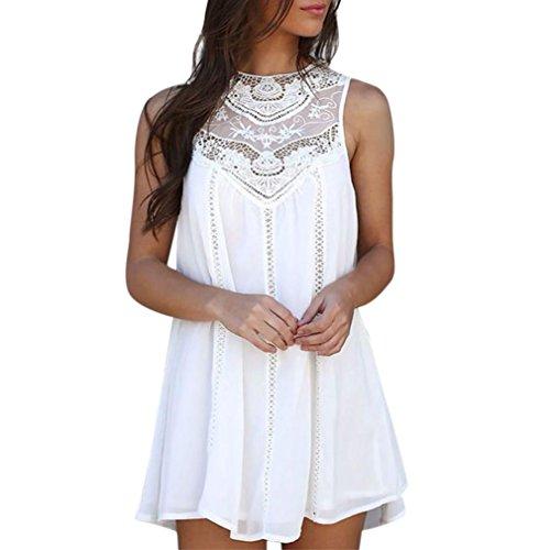 Vestido de verano de mujer, Dragon868 Las mujeres de encaje casual costura O-cuello sin mangas de Gasa mini vestido para niñas Blanco
