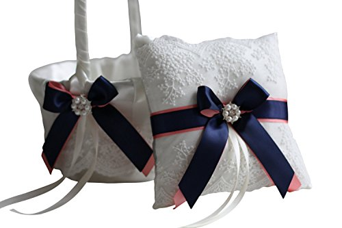 Alex Emotions | Lace Collection | Off White Coral Navy Blue Ring Bearer Pillow & Wedding Basket Set