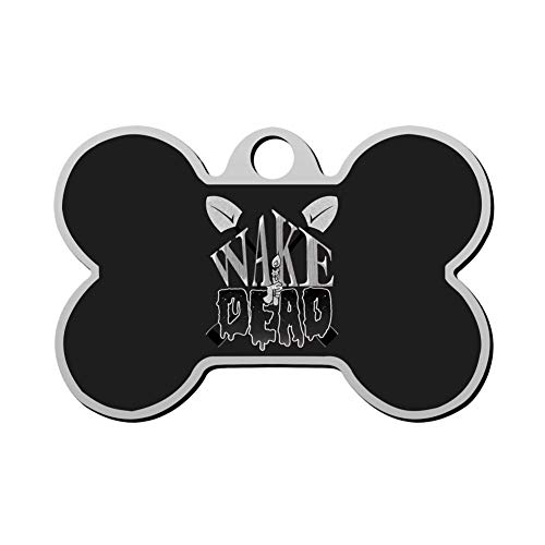 HAOPENGYOU Custom Pet ID Tags Personalized Dog Tags & Cat Tags Bone Shape Wake The Dead -