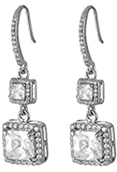 Betsey Johnson CZ Halo Drop Earrings