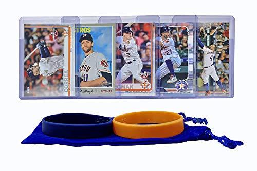 Houston Astros Baseball Cards: George Springer, Jose Altuve, Alex Bregman, Carlos Correa, Collin McHugh ASSORTED Trading Card and Wristbands Bundle