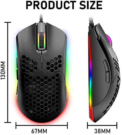 Wired Lightweight Gaming Mouse,6 RGB Backlit Mouse with 7 Buttons Programmable Driver,6400DPI Computer Mouse,Ultralight Honeycomb Shell Ultraweave Cable Mouse for PC Gamers,Xbox,PS4 (Black)
