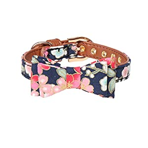 Fourhorse Small Dog and Cat Collars with Cute Blue flowers Bandana and Bowtie, Adjustable Buckle Soft and Comfortable