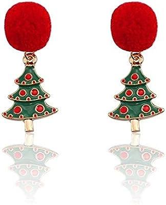 WFSDKN Pendientes de Navidad Moda Pelota roja Peluche Pendientes ...