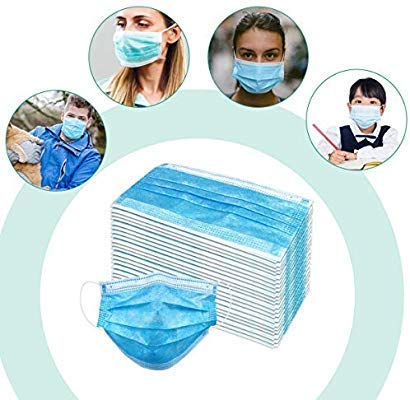 Disposable 3-Ply Face Mask with Earloops Protective for Germs,Pollen,Smoke,Dust,Pollen(20Pcs/1Box) Blue