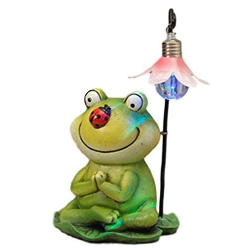7.5″ Battery Operated LIGHTED Sweet Garden Patio Porch Frog Sitting on Lily Pad Resin (Frog w Ladybug) For Sale