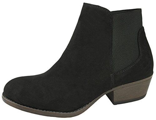 Around Womens Chunky Wrap With Gusset Chelsea Dora Block Lora Heel Boots Black SwCAqFZnF