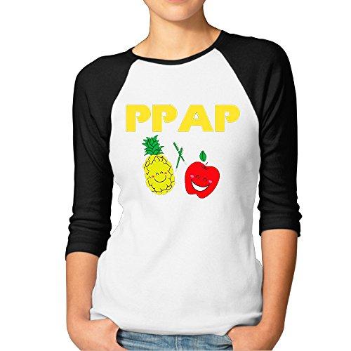 Womens Music Pen Pineapple Apple Pen 3/4 Baseball Jerseys Jersey Shirt